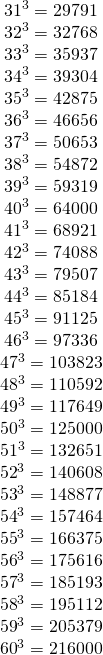 \[\begin{array}{*{20}{c}} {{{31}^3} = {\rm{29791}}}\\ {{{32}^3} = {\rm{32768}}}\\ {{{33}^3} = {\rm{35937}}}\\ {{{34}^3} = {\rm{39304}}}\\ {{{35}^3} = {\rm{42875}}}\\ {{{36}^3} = {\rm{46656}}}\\ {{{37}^3} = {\rm{50653}}}\\ {{{38}^3} = {\rm{54872}}}\\ {{{39}^3} = {\rm{59319}}}\\ {{{40}^3} = {\rm{64000}}}\\ {{{41}^3} = {\rm{68921}}}\\ {{{42}^3} = {\rm{74088}}}\\ {{{43}^3} = {\rm{79507}}}\\ {{{44}^3} = {\rm{85184}}}\\ {{{45}^3} = {\rm{91125}}}\\ {{\rm{4}}{{\rm{6}}^3} = {\rm{97336}}}\\ {{\rm{4}}{{\rm{7}}^3} = {\rm{103823}}}\\ {{\rm{4}}{{\rm{8}}^3} = {\rm{110592}}}\\ {{\rm{4}}{{\rm{9}}^3} = {\rm{117649}}}\\ \begin{array}{l} {50^3} = {\rm{125000}}\\ {51^3} = {\rm{132651}} \end{array}\\ {{{52}^3} = {\rm{140608}}}\\ {{{53}^3} = {\rm{148877}}}\\ {{{54}^3} = {\rm{157464}}}\\ {{{55}^3} = {\rm{166375}}}\\ {{{56}^3} = {\rm{175616}}}\\ {{{57}^3} = {\rm{185193}}}\\ {{{58}^3} = {\rm{195112}}}\\ {{{59}^3} = {\rm{205379}}}\\ {{{60}^3} = {\rm{216000}}}\\ {} \end{array}\]