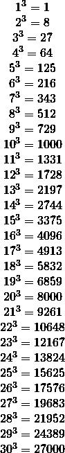 \[\begin{array}{*{20}{c}} {{1^3} = 1}\\ {{2^3} = 8}\\ {{3^3} = 27}\\ {{4^3} = 64}\\ {{5^3} = 125}\\ {{6^3} = 216}\\ {{7^3} = 343}\\ {{8^3} = 512}\\ {{9^3} = 729}\\ {{{10}^3} = 1000}\\ {{{11}^3} = 1331}\\ {{{12}^3} = 1728}\\ {{{13}^3} = {\rm{2197}}}\\ {{{14}^3} = {\rm{2744}}}\\ {{{15}^3} = {\rm{3375}}}\\ {{\rm{1}}{{\rm{6}}^3} = {\rm{4096}}}\\ {{\rm{1}}{{\rm{7}}^3} = {\rm{4913}}}\\ {{\rm{1}}{{\rm{8}}^3} = {\rm{5832}}}\\ {{\rm{1}}{{\rm{9}}^3} = {\rm{6859}}}\\ \begin{array}{l} {20^3} = {\rm{8000}}\\ {21^3} = {\rm{9261}} \end{array}\\ {{{22}^3} = {\rm{10648}}}\\ {{{23}^3} = {\rm{12167}}}\\ {{{24}^3} = {\rm{13824}}}\\ {{{25}^3} = {\rm{15625}}}\\ {{{26}^3} = {\rm{17576}}}\\ {{{27}^3} = {\rm{19683}}}\\ {{{28}^3} = {\rm{21952}}}\\ {{{29}^3} = {\rm{24389}}}\\ {{{30}^3} = {\rm{27000}}}\\ {} \end{array}\]