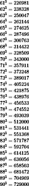 \[\begin{array}{*{20}{c}} {{{61}^3} = {\rm{226981}}}\\ {{{62}^3} = {\rm{238328}}}\\ {{{63}^3} = {\rm{250047}}}\\ {{{64}^3} = {\rm{262144}}}\\ {{{65}^3} = {\rm{274625}}}\\ {{{66}^3} = {\rm{287496}}}\\ {{{67}^3} = {\rm{300763}}}\\ {{{68}^3} = {\rm{314432}}}\\ {{{69}^3} = {\rm{328509}}}\\ {{{70}^3} = {\rm{343000}}}\\ {{{71}^3} = {\rm{357911}}}\\ {{{72}^3} = {\rm{373248}}}\\ {{{73}^3} = {\rm{389017}}}\\ {{{74}^3} = {\rm{405224}}}\\ {{{75}^3} = {\rm{421875}}}\\ {{\rm{7}}{{\rm{6}}^3} = {\rm{438976}}}\\ {{\rm{7}}{{\rm{7}}^3} = {\rm{456533}}}\\ {{\rm{7}}{{\rm{8}}^3} = {\rm{474552}}}\\ {{\rm{7}}{{\rm{9}}^3} = {\rm{493039}}}\\ \begin{array}{l} {80^3} = {\rm{512000}}\\ {81^3} = {\rm{531441}} \end{array}\\ {{{82}^3} = {\rm{551368}}}\\ {{{83}^3} = {\rm{571787}}}\\ {{{84}^3} = {\rm{592704}}}\\ {{{85}^3} = {\rm{614125}}}\\ {{{86}^3} = {\rm{636056}}}\\ {{{87}^3} = {\rm{658503}}}\\ {{{88}^3} = {\rm{681472}}}\\ {{{89}^3} = {\rm{704969}}}\\ {{{90}^3} = {\rm{729000}}}\\ {} \end{array}\]